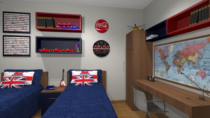 quarto azul marinho, branco e vermelho Pesquisa Google