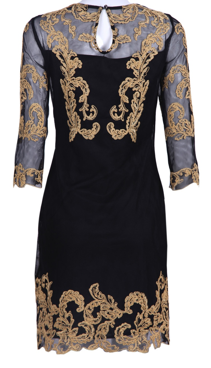 Black Three Quarter Length Sleeve Gold Silk Embroidery Dress