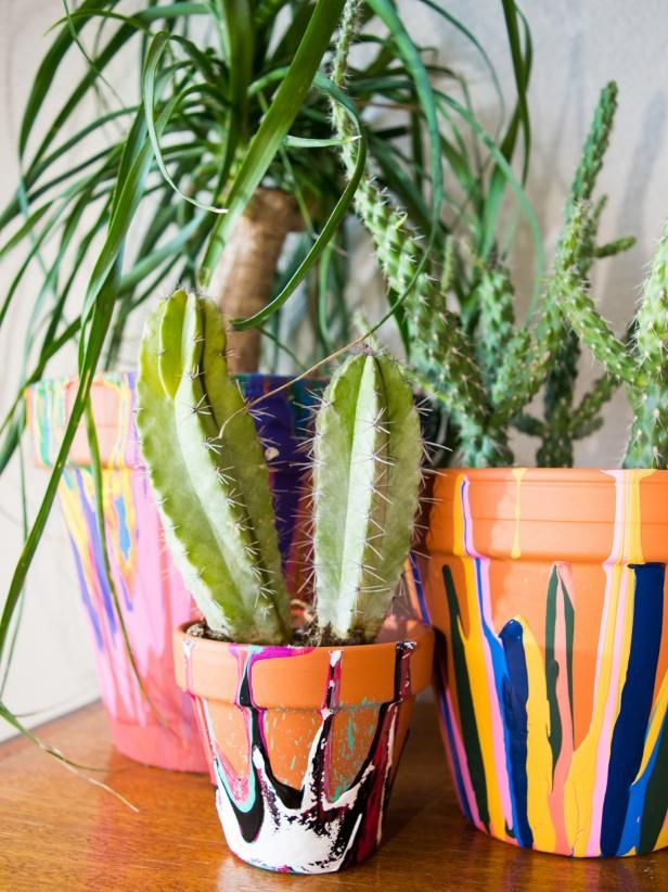 A little drip goes a long way on these fun planters made from simple clay pots upgraded easily with craft paint.
