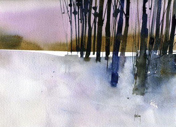 Original watercolour tree painting - Standing by