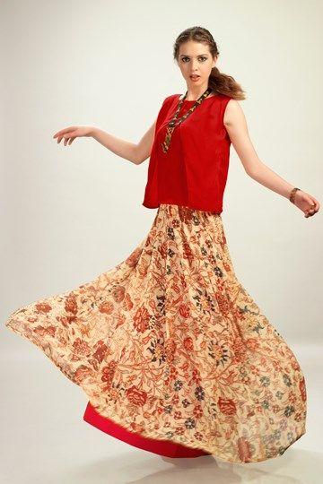 Kurtis, Admyrin, La Isla Bonita, Red Chiffon Top With Georgette Skirt ,  ,  ,