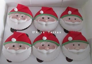Santa Claus Cupcakes / Cupcakes de papa Noel - D'Kika Tartas