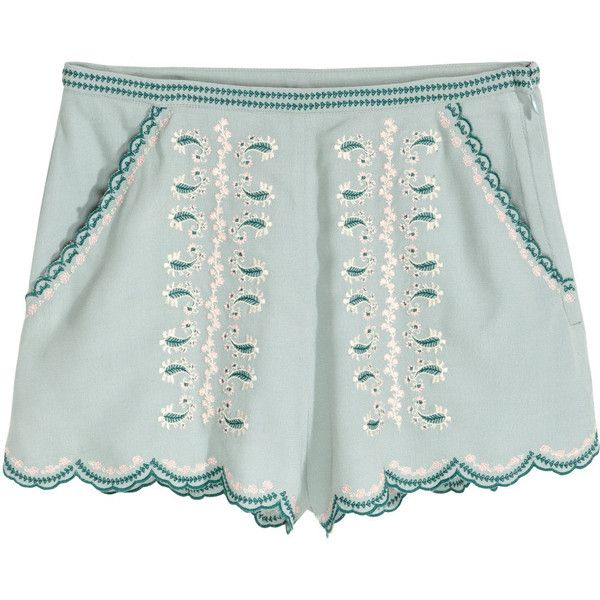 Embroidered Shorts $29.99 ($30) via Polyvore featuring shorts, short shorts, mint shorts, mint green shorts, hot shorts and hot pants