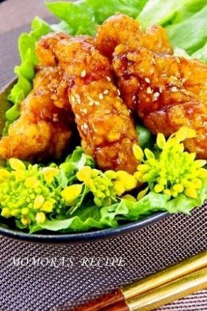 「鶏胸肉で簡単♪手羽風揚げない甘辛照焼チキンお弁当に」鶏胸肉なのにウイング風♬骨が無いので食べ易くお弁当にもピッタリ♡油で揚げないのでヘルシーです♪【楽天レシピ】