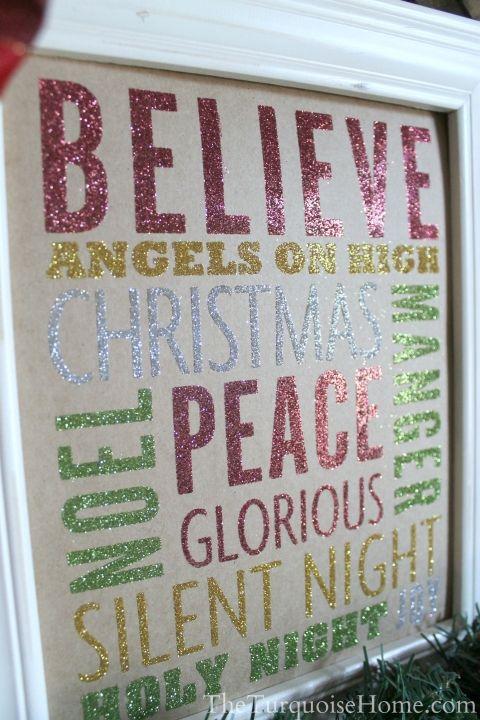 Glittery Christmas Subway Art