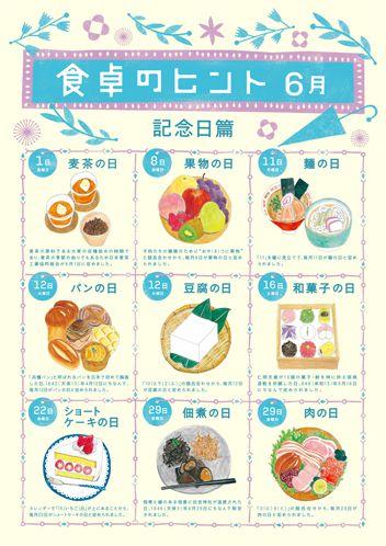 ポポ・シャポーの食品カレンダー6月のイラストを描きました。個人的には和菓子が力作です!