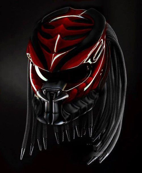 Very impressive !!! PREDATOR HELMET WITH RED and BLACK #CELLOS