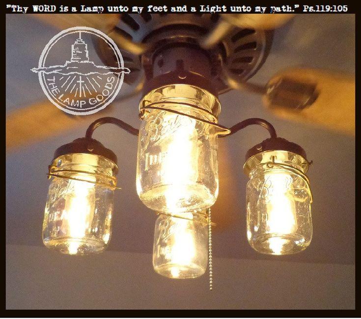 Mason Jar Ceiling Fan LIGHT KIT with Vintage Pints