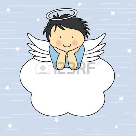Ali d'angelo su una scheda nuvola auguri Archivio Fotografico