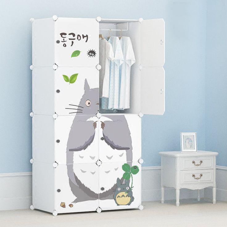 Мультфильм дверь Freestanding ABS Пластиковые diy складной шкаф ребенок шкаф шкаф ребенок Пыли уплотнение шкаф для одежды окр