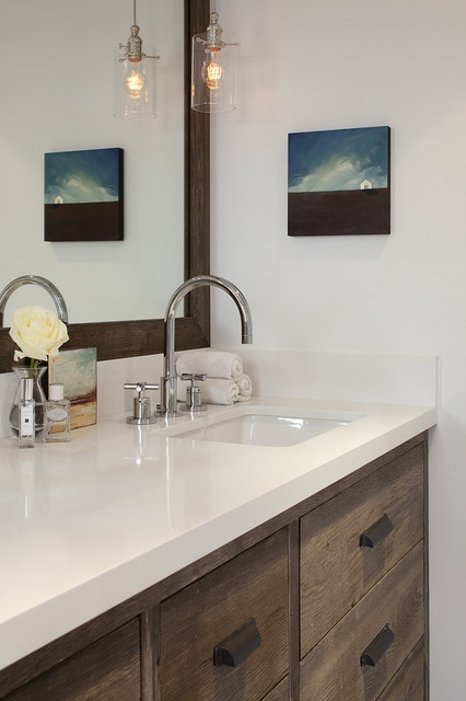 Glossy + Rustic Bathroom 3 with white walls and tile, glossy white countertops, dual sinks, rustic vanity and pendant lights in front of mirror - Mill Valley home by Tineke Triggs of Artistic Designs for Living