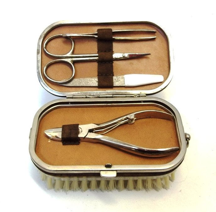 1960s Mens Brush With Manicure Set Leatherette Manicure Travel Kit Brush Nail Kit Vintage Gift For Him West Germany Grooming Set DD 1152 by donDiLights on Etsy
