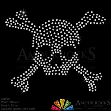 skull and crossbones crystal diamante iron on logo