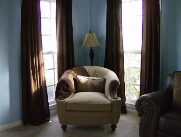 Blue Walls With Brown Curtains Would Look Nice In The Living/dining Room.