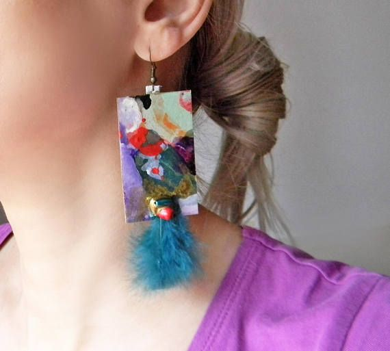 Hand painted abstract multicolor earrings with turquoise green