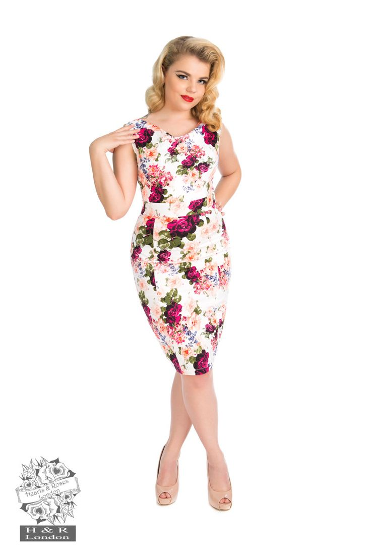 Hearts and Roses London - Vintage Rose Print Wiggle 50S Dress By Hearts & Roses Of London