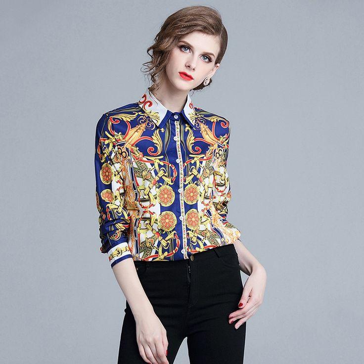 Designer Runway Tops High Quality Women Fashion 2018 Shirt Women Long Sleeve Shirts Vintage Blusa Feminina Manga Comprida #blouses #shirts #shirt #new...