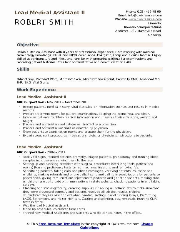 Medical Assistant Resume Objective Examples Inspirational Lead Medical Assistant Resume Samp In 2021 Medical Assistant Resume Resume Objective Examples Resume Examples