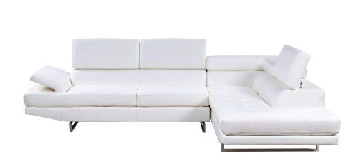 Furniture of America Keen Bonded Leather Sectional Sofa w...