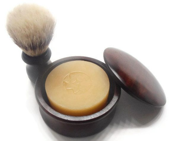Gift for HIM - Shaving Soap Set with Brush - Wooden Bowl with Lid - Brush - Soap - Choose your scent - Gift Wrapped TOO