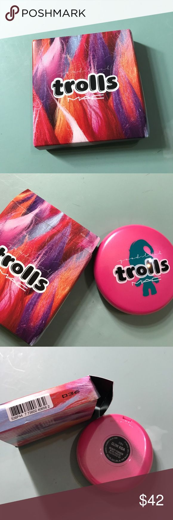 Mac LE Trolls Glow Rida Limited Edition Beauty Powder. The shade is Glow Rida. It can be used as a highlight, soft blush & finish. It is new in box, never used. Please ask all questions before purchase. No returns allowed. MAC Cosmetics Makeup Luminizer