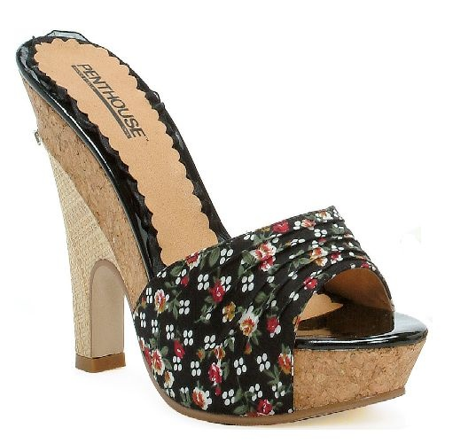 Escarpins Compenses Pin Up Rockabilly Vintage Bouchon Rose Sexy Rock Sandal