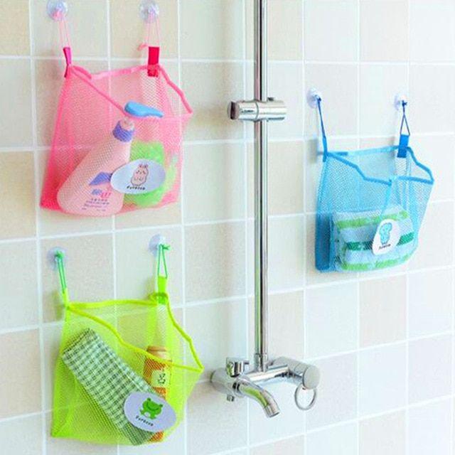 Kids Bath Tub Net Toy Storage Bag Bathroom Suction Hanging Mesh Organizer