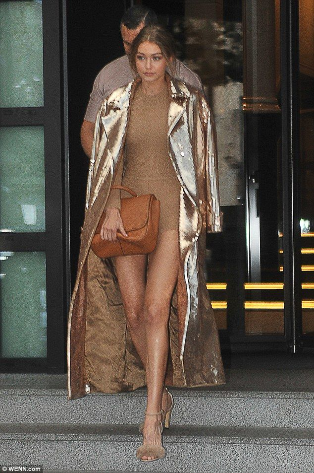 Leggy: She added some extra height to her long limbs thanks to a cute pair of coordinating, fluffy embellished heels