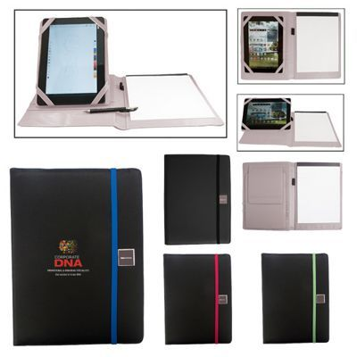 "Polyurethane portfolio with writing pad and rotating tablet storage panel and stand. Exterior with color accent elastic band closure. Rotating tablet panel adjusts to hold a range of devices including iPads, iPad Mini (1st generation), and Samsung Tab2. 2 tablet display/stand positions available: horizontal and vertical. Includes 8 1/2""x11"" notepad with approx. 20 lined sheets and elastic pen loop (pen sold separately). Two possible imprint options: Screen print on cover, or laser ..."