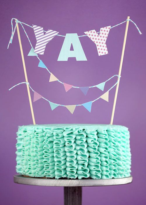 "adorable ""YAY"" ruffle cake :)Ruffle Cake, Parties Cake, Cake Decor, Celebrities Cake, Parties Ideas, Ruffles Cake, Birthday Cake, Happy Things, Cake Toppers"