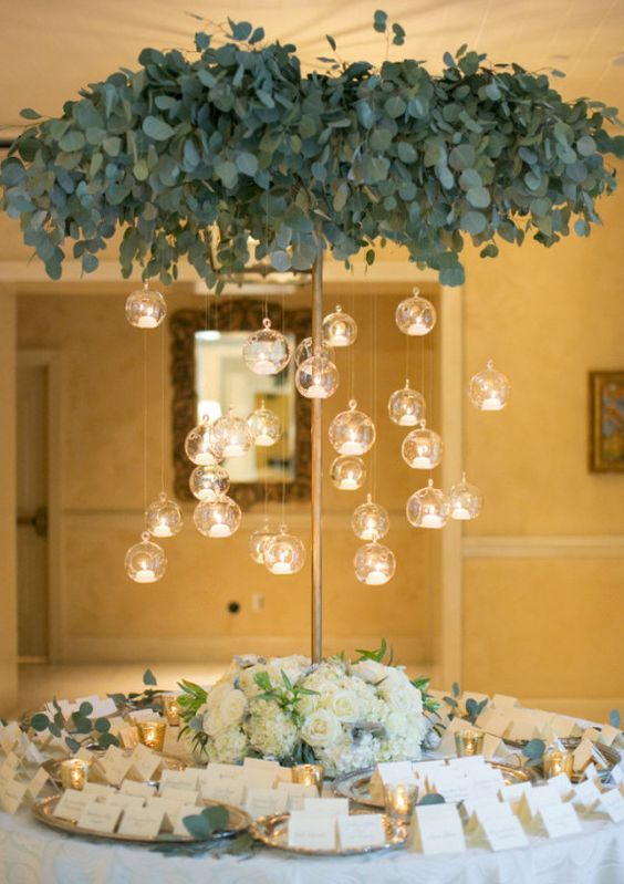 Photographer: Jessica Claire Photography; Wedding reception centerpiece idea;