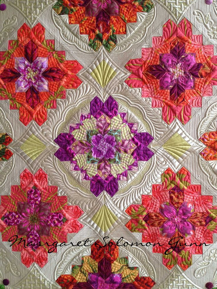 """Bouquet Royale"" (center of), finished (soon) 2015 www.quiltsoflove.blogspot.com Margaret Solomon Gunn"
