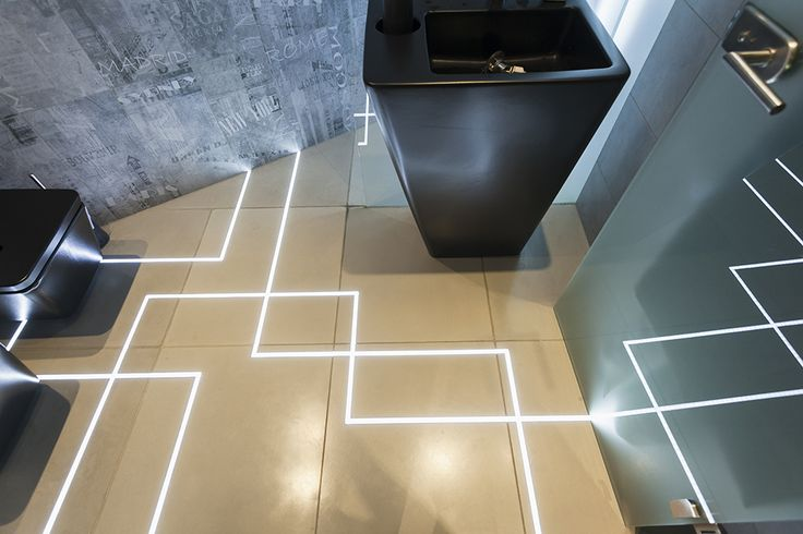 MUKIline // lighting pavement system with linear graphic design and waterproof construction that makes  its use possible  in  garden, terrace, bathroom or kitchen as well // lighting pavement element by S'39 Hybrid Design Manufacture // 2013, bathroom of a house in Budapest