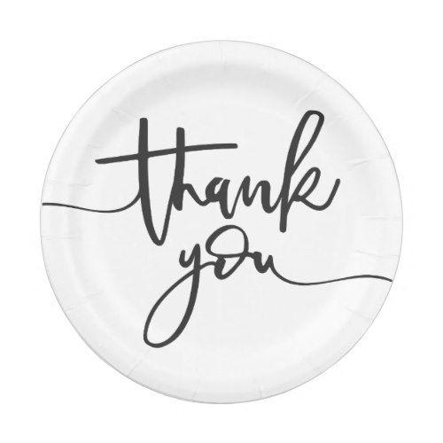 Thank You Handwritten Text Paper Plate