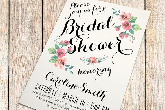 Printable Bridal Shower Invitation ivory background  by plpapers, $16.00