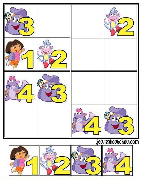 jeu de sudoku 'Grille sudoku dora n° 3' pour enfant a imprimer gratuit de 0 à 5 ans - assistante-maternelle.biz tous les conseils