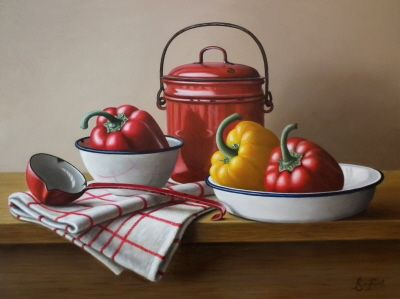 """Enamel Pail with Peppers  12""""x16""""   Sold"""