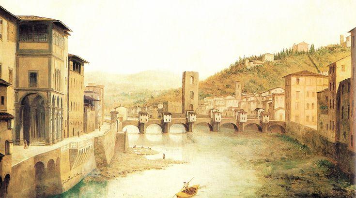 """""""Ponte alle Grazie e Loggia degli Uffizi"""" Fabio Borbottoni (1820–1902)  Cassa di Risparmio di Firenze Collection"""