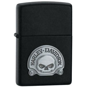 Zippo Harley-Davidson Skull Emblem Black Matte Windproof Lighter Chrome, Silver, 5.8x 3.6x 1.8cm 1Unit – CollectableZippos.com – U.K.