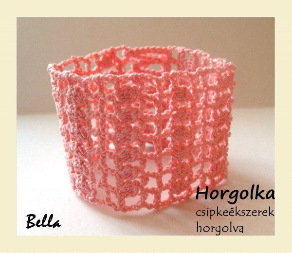 Bella - rózsaszín horgolt karkötő
