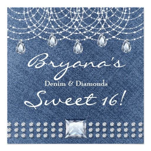 Denim Diamonds Teardrop Bling Sweet 16 Invitation Zazzle Com