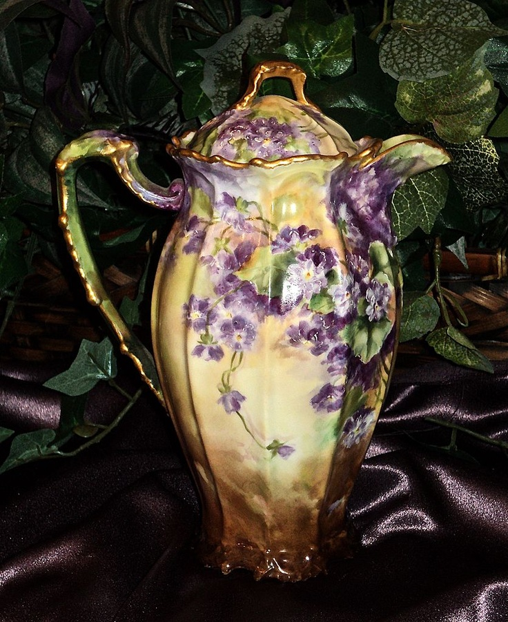 Limoges Signed Chocolate Pot with Violets from: Ruby Lane