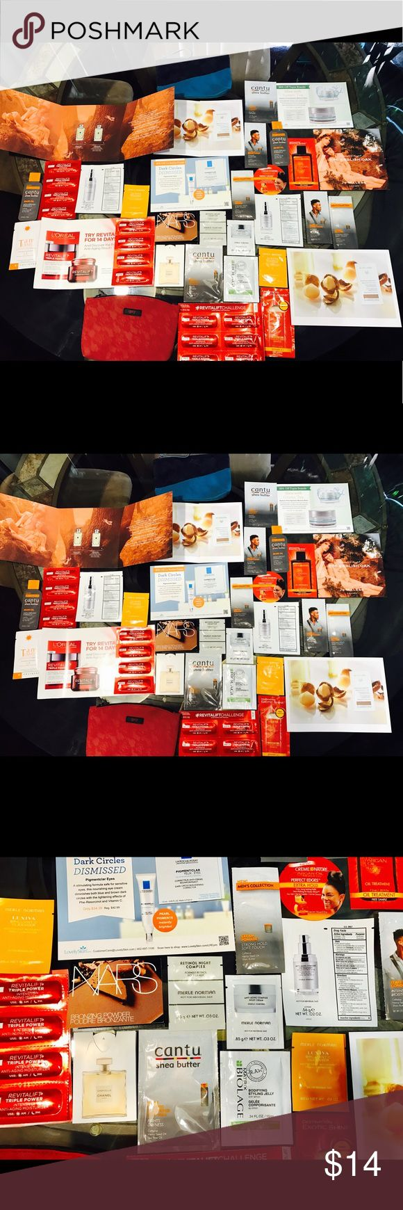 Lot 43pc Cosmetics samples Big Lot 43pc Cosmetics samples for $14. You will get: NARS, Chanel, La Roche Posay, Cantu. 6 samples Merle Norman , 14 samples Revitalift triple power anti aging moisturizer; 2 samples Dr.Hauschka regeneration eye cream, 2 New Ipsy  makeup bags & more, more others. All total 43 pc. Everything 100% New. Makeup