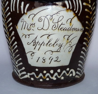 WETHERIGGS SCHOFIELDS SLIPWARE LARGE SALT PERSONALIZED 1892