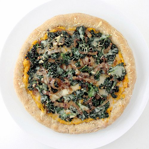 Whole Wheat Sweet Potato Pizza With Kale & Caramelized Onions