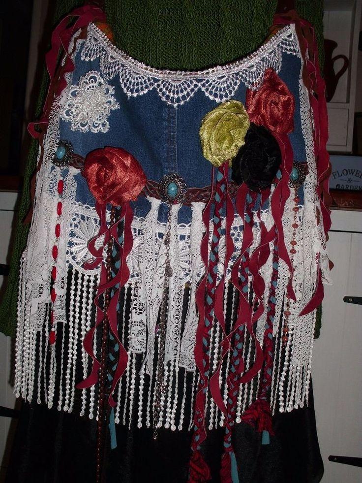 Handmade Vintage Denim Suede Velvet Lace Jewelry Boho Gypsy Hippie Handbag | Clothing, Shoes & Accessories, Women's Handbags & Bags, Handbags & Purses | eBay!