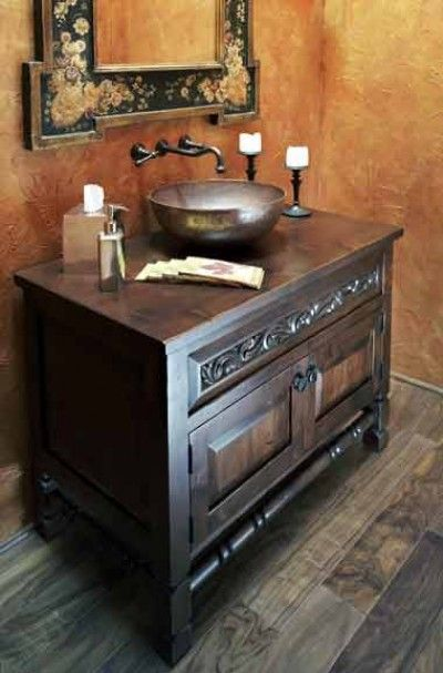 Awesome Powder Room Vanity And Vessel Sink! Find This Pin And More On Old  World Bathroom ...