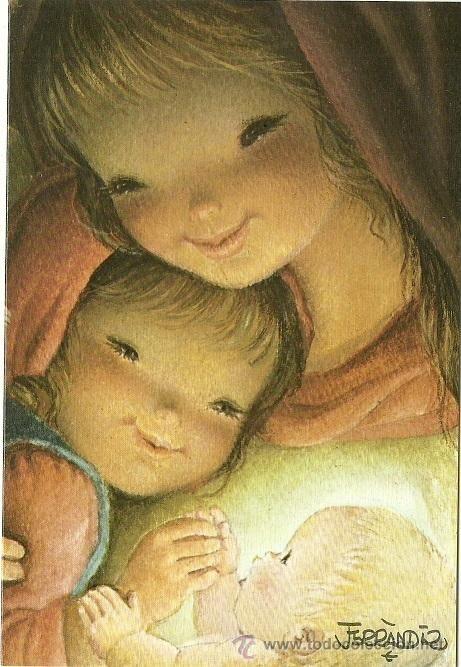 Postal de Navidad Original de Ferrándiz - Ediciones SUBI - N 1961. Díptica 11,5 x 17 cms.