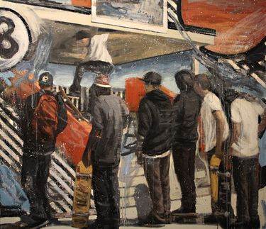 "Saatchi Art Artist Kjetil Jul; Painting, ""Street Scene/Viewers"" #art"