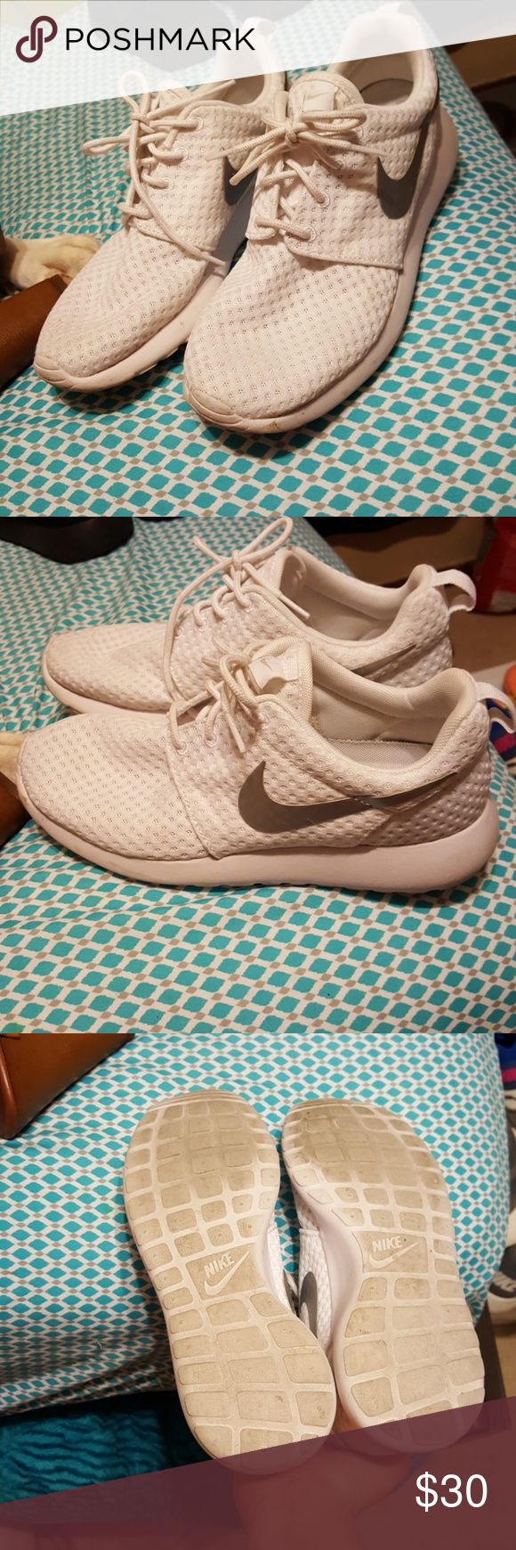 White Nike All white nike, grey swish, size 7.5 perfect condition. Worn a few times but dirt is only on the bottoms. Offers welcome. Nike Shoes Athletic Shoes
